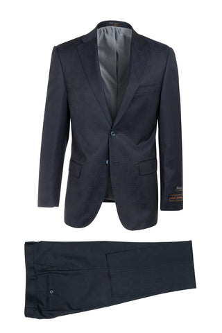 Dolcetto Navy Blue Jacqard Windowpane Modern Fit, Pure Wool Suit by Tiglio Luxe 286.548/2