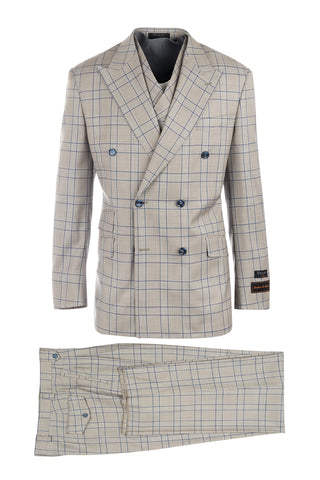 EST Tan with White and Navy Blue Windowpane, Pure Wool, Wide Leg Suit & Vest by Tiglio Rosso 286419/2