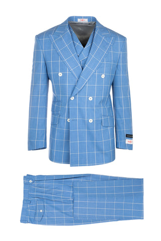 EST Light Blue with White Windowpane Wide Leg Suit & Vest by Tiglio Rosso 404150/2