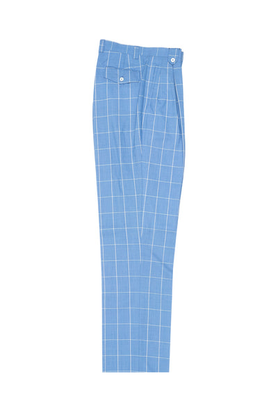Sky Blue with White Windowpane Wide Leg, Wool Dress Pant 2586/2576 by Tiglio Luxe 404150/2