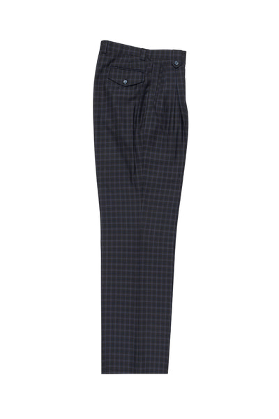 Brown, Navy and Light Blue Mini-Windowpane Wide Leg, Wool Dress Pant 2586/2576 by Tiglio Luxe 47.3329/2