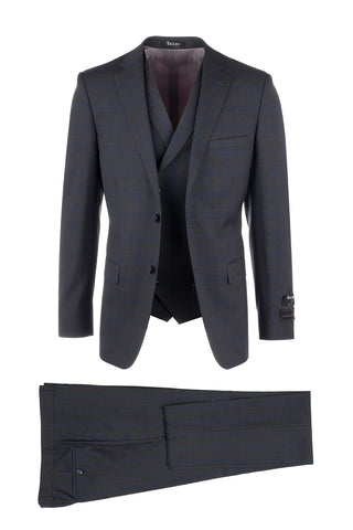 Porto Slim Fit, Pure Wool Suit & Vest by Tiglio Luxe 50F16/288/1