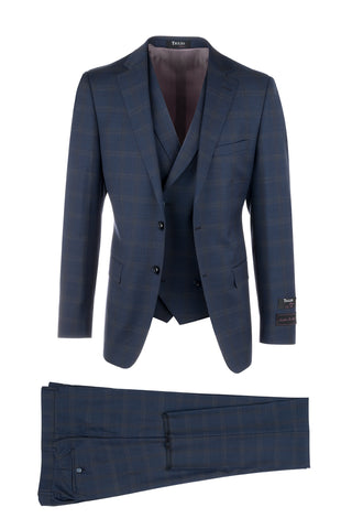Porto Slim Fit, Pure Wool Suit & Vest by Tiglio Luxe 50F16/288/2