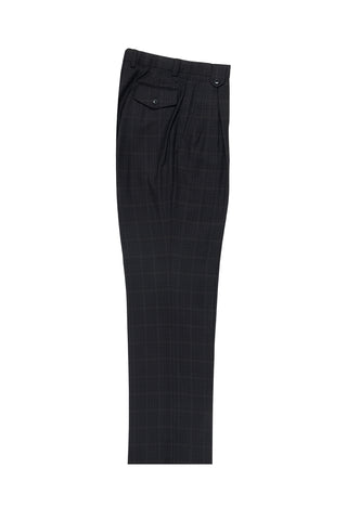 Black and Brown Jacquard with Cream Windowpane Wide Leg, Wool Dress Pant 2586/2576 by Tiglio Luxe 50G16/254/4