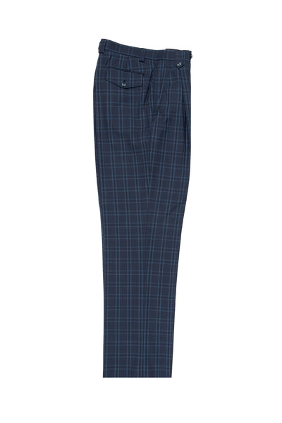 Steel Blue with Bright Blue and Navy Windowpane Wide Leg, Wool Dress Pant 2586/2576 by Tiglio Luxe 55126/1