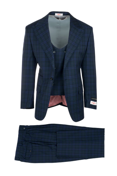 Luca Navy with Lighter Blue and Pinkish Plaid, Pure Wool, Wide Leg Suit & Vest by Tiglio Rosso 74159/2