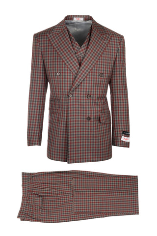 EST Tan, Red and Gray Check Pattern, Pure Wool, Wide Leg Suit & Vest by Tiglio Rosso 74274/12
