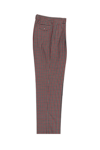 Tan, Gray and Red Check Wide Leg, Wool Dress Pant 2586/2576 by Tiglio Luxe 74274/12