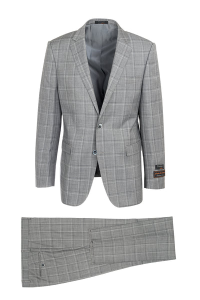 Sangria Ash Gray with Black and Cream Windowpane Modern Fit, Pure Wool Suit by Tiglio Luxe 864123/1