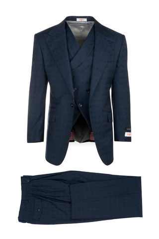 New Rosso Navy Blue with Textured Check Pattern, Pure Wool, Wide Leg Suit & Vest by Tiglio Rosso 86.5132/3