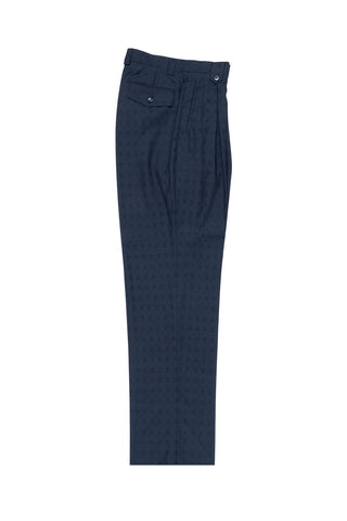 Navy Blue Jacquard Wide Leg, Wool Dress Pant 2586/2576 by Tiglio Luxe 86.5132/3