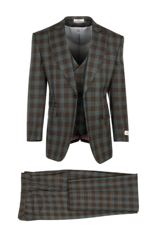 Rosso Brown with Blue Plaid/Windowpane Pure Wool, Wide Leg Suit & Vest by Tiglio Rosso 92209/2