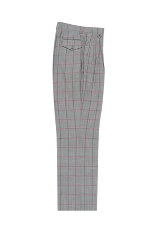Light Gray with Pink and Medium Gray Windowpane Wide Leg, Wool Dress Pant 2586/2576 by Tiglio Luxe 97.112/1