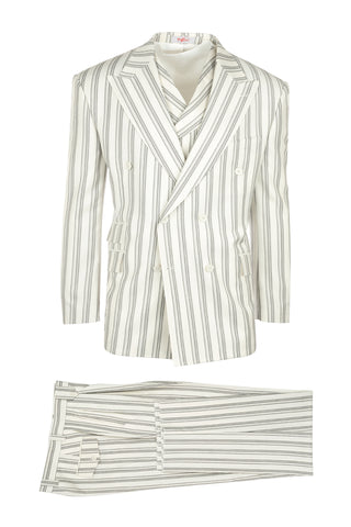 EST Offwhite with Black Stripes, Pure Wool, Wide Leg Suit & Vest by Tiglio Rosso B963766/182/1