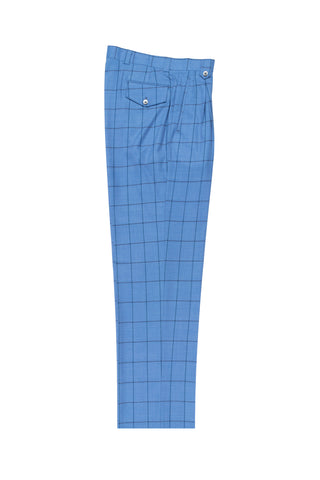Jean Blue with navy and black windopane, Wide Leg Wool Dress Pant 2586/2576 by Tiglio Luxe CV447754/1
