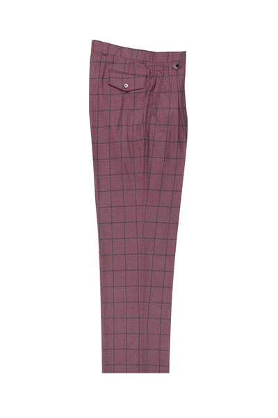 Fuchsia with navy blue windopane, Wide Leg Wool Dress Pant 2586/2576 by Tiglio Luxe CV447754/2