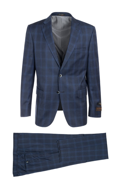 Dolcetto Midnight with Royal Blue Windowpane Modern Fit, Pure Wool Suit by Tiglio Luxe CV87.711/1