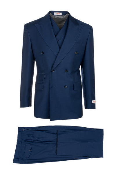EST French Blue, Pure Wool, Wide Leg Suit & Vest by Tiglio Rosso