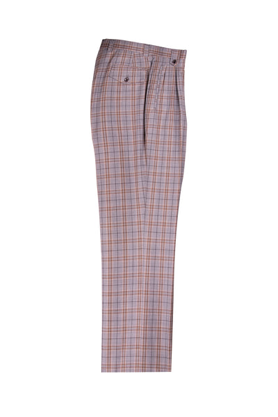 Gray with Brown Plaid Wide Leg Wool Dress Pant 2586/2576 by Tiglio Luxe FJ2203/1
