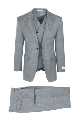 San Giovesse Light Gray with Navy Mini Check, Pure Wool, Wide Leg Suit & Vest by Tiglio Rosso FJ2213/1