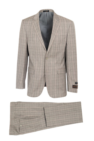 Sangria Tan and Black Mini-Houndstooth Windowpane Modern Fit, Pure Wool Suit by Tiglio Luxe FR3223/1