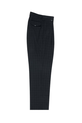 Black with Whitish Gray Windowpane Wide Leg, Wool Dress Pant 2586/2576 by Tiglio Luxe FT1323/3