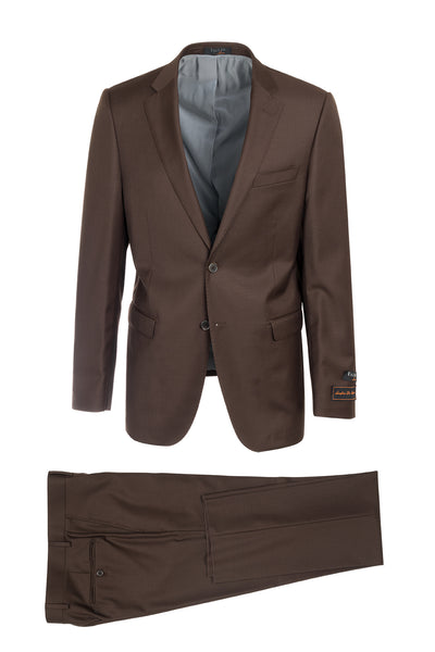Sangria Brown Modern Fit, Pure Wool Suit by Tiglio Luxe FT3105/3
