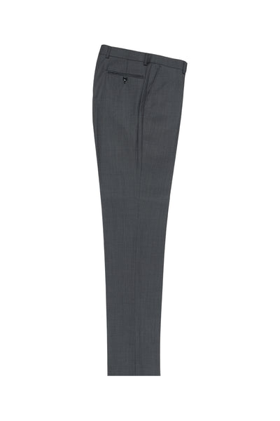 Dark Gray Birdseye Flat Front Wool Dress Pant 2560 by Tiglio Luxe IDM7018/4