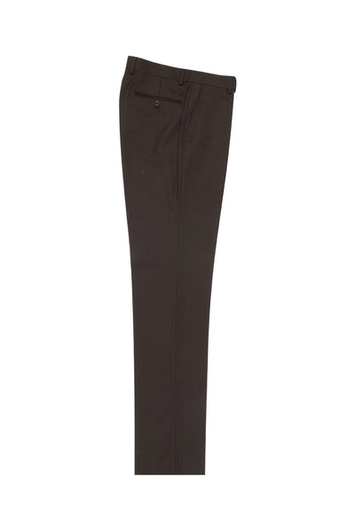Brown Birdseye Flat Front Wool Dress Pant 2560 by Tiglio Luxe IDM7018/7