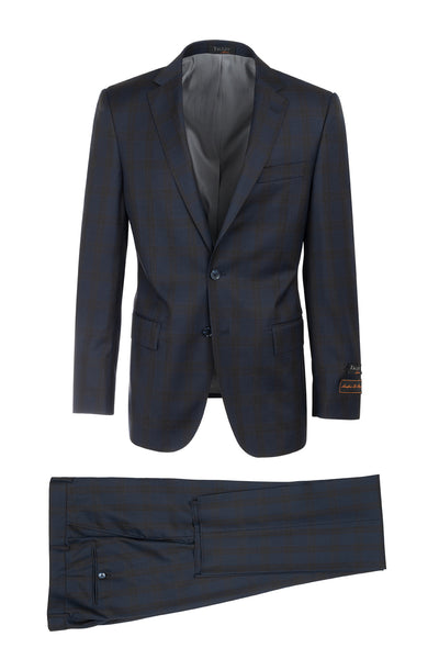 Novello Indigo Blue with Slate Gray Windowpane Modern Fit, Pure Wool Suit by Tiglio Luxe LG2458F/111/2