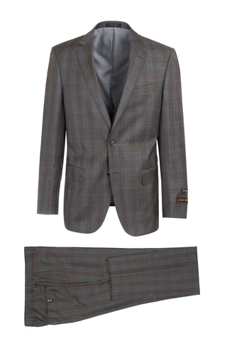 Novello Gray with Brown Windowpane Modern Fit, Pure Wool Suit by Tiglio Luxe LG2458F/111/3