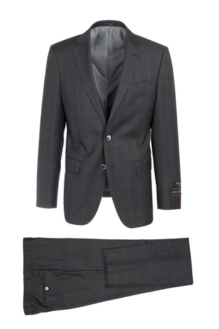 Novello Charcoal Gray with Rose Windowpane Modern Fit, Pure Wool Suit by Tiglio Luxe LG2458F/112/3