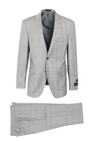 Dolcetto Ash Gray with White, Black and Purple Windowpane Modern Fit, Pure Wool Suit by Tiglio Luxe LR188008/1