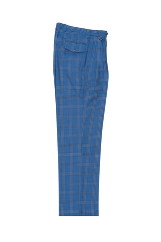 F.blue with navy windopane, Wide Leg Wool Dress Pant 2586/2576 by Tiglio Luxe LR74310/8
