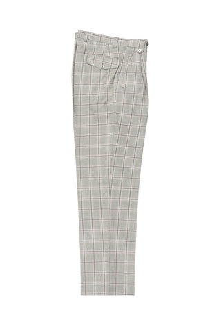 Gray Houndstoth Design and pink & gray windowpane, Wide Leg Wool Dress Pant 2586/2576 by Tiglio Luxe LT55170/1
