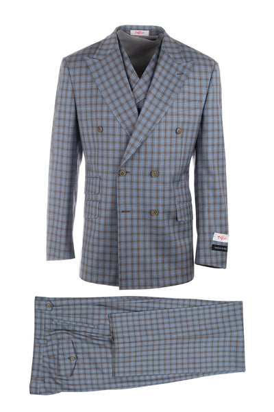 EST Slate Blue and Brown Check, Pure Wool, Wide Leg Suit & Vest by Tiglio Rosso LT55218/1