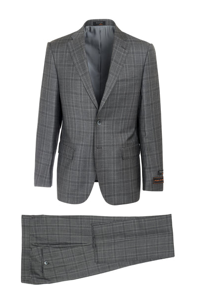 Dolcetto Slate Gray with Cream and Black Windowpane Modern Fit, Pure Wool Suit by Tiglio Luxe LV13782/1