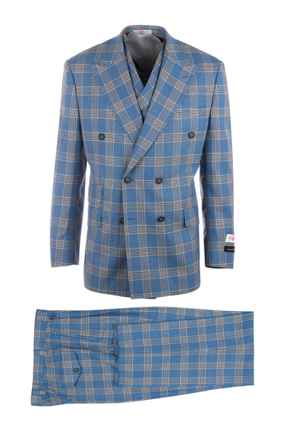 EST Plaid Jean Blue, Pure Wool, Wide Leg Suit & Vest by Tiglio Rosso LV209513/1
