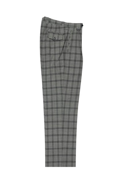 Gray with black check, Wide Leg Wool Dress Pant 2586/2576 by Tiglio Luxe LV734.7764/400