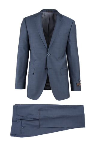 Novello Blue Herringbone Modern Fit, Pure Wool Suit by Tiglio Luxe 12A004