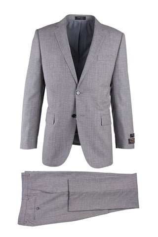 Novello Light Gray Birdseye, Modern Fit, Pure Wool Suit by Tiglio Luxe TIG1018