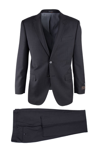 Novello Black Tone on Tone, Modern Fit, Pure Wool Suit by Tiglio Luxe TIG1046