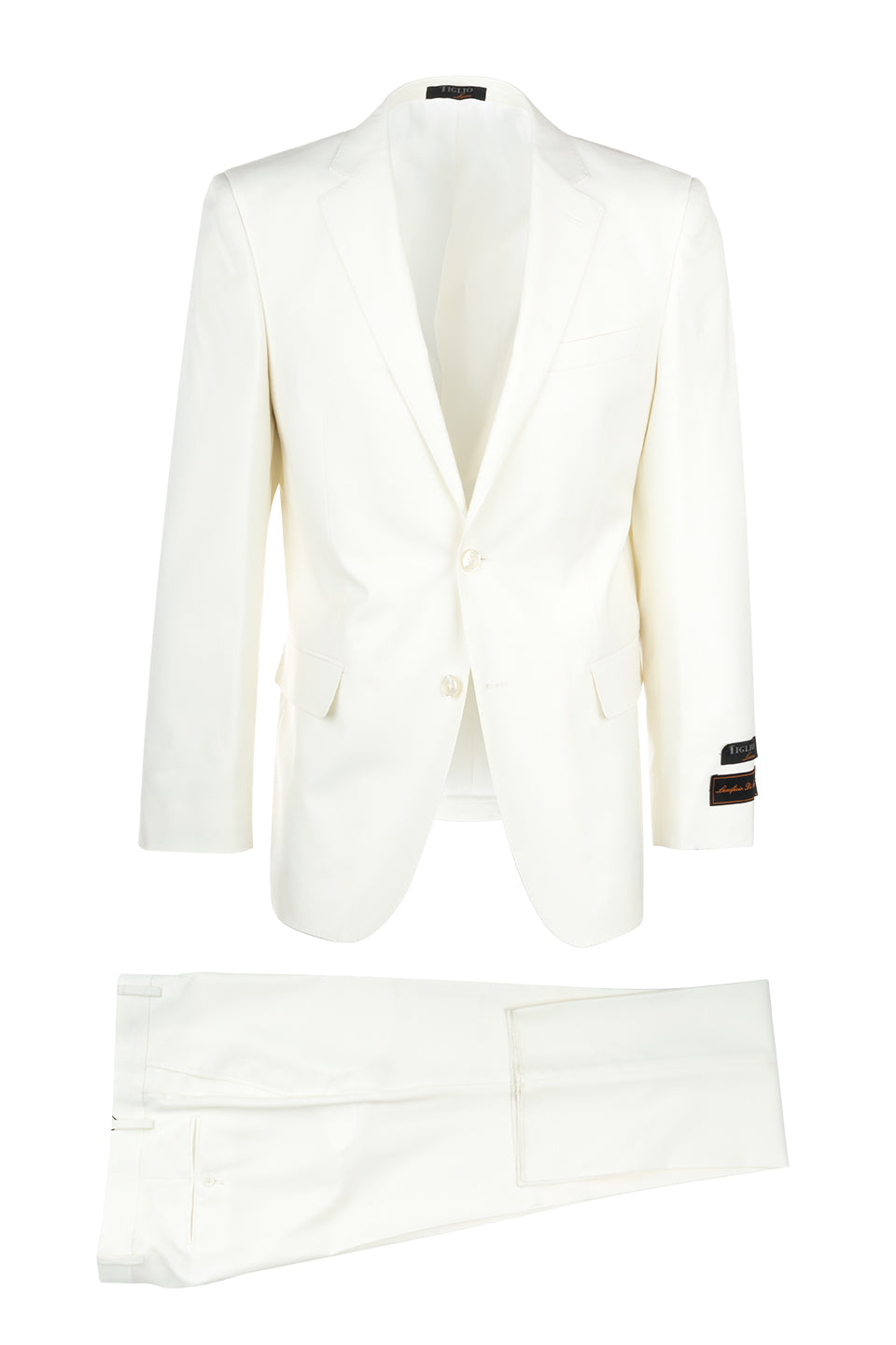 Pure Wool Dress Pants by Tiglio Luxe Offwhite Wide Leg