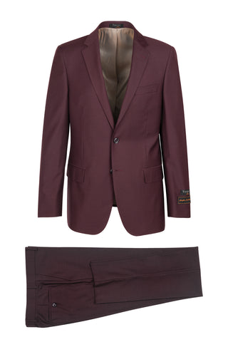 Novello Burgundy, Modern Fit, Pure Wool Suit by Tiglio Luxe - Burgundy