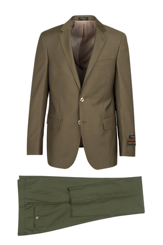 Novello Olive, Modern Fit, Pure Wool Suit by Tiglio Luxe - Olive
