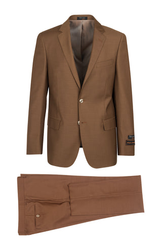 Novello Tobacco, Modern Fit, Pure Wool Suit by Tiglio Luxe - Tobacco