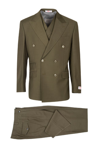 EST OLIVE, Pure Wool, Wide Leg Suit & Vest by Tiglio Rosso