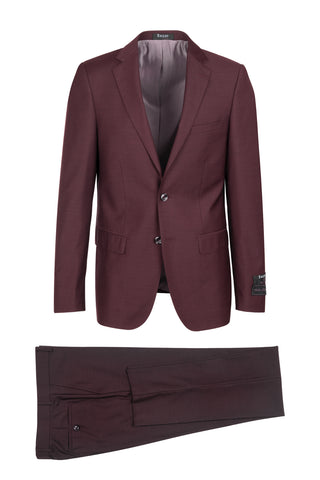 Porto Burgandy, Slim Fit, Pure Wool Suit by Tiglio Luxe - Burgandy
