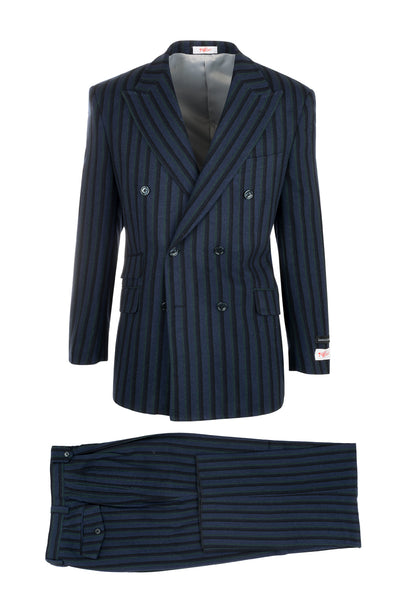 EST Royal Blue with Navy and Green Stripes Wide Leg Suit by Tiglio Rosso R4373/1