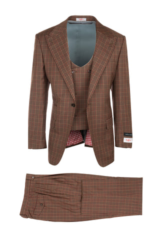 Luca Brown with Red and Dark Brown Plaid/Windowpane, Pure Wool, Wide Leg Suit & Vest by Tiglio Rosso R7404/3
